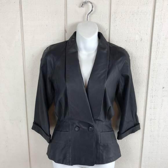 French Connection Jackets & Blazers - French Connection grey leather blazer size 0 NWT